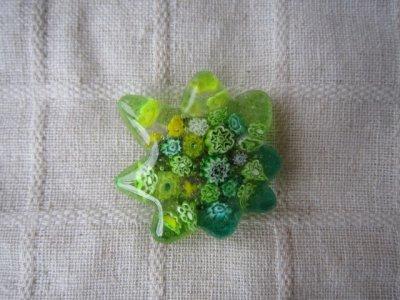 画像1: ヴェネチアンミルフィオリの新緑もみじ帯留め