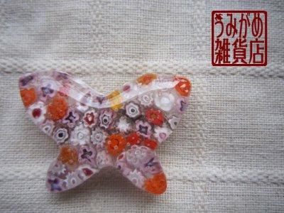画像2: ヴェネチアンミルフィオリの蝶帯留め(ピンク)