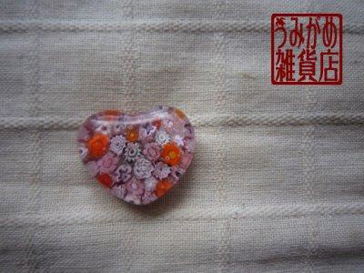 画像1: ヴェネチアンミルフィオリのハート帯留め(ピンク)
