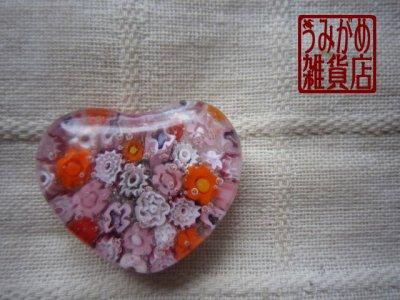 画像2: ヴェネチアンミルフィオリのハート帯留め(ピンク)