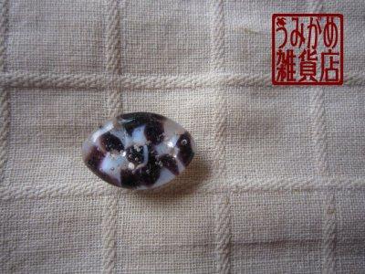画像1: アーモンド形の帯留め(白&紫&銀色)*プチシリーズ