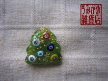 他の写真1: 緑ガラスにヴェネチアンミルフィオリのクリスマスツリー帯留め